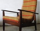 Danish Modern Scoop Lounge Chair 1960s - original 60s striped upholstery - mid century modern chair