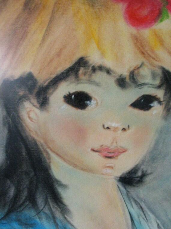 60s Big Eye Girl Mid Century Art   Keane era -  21-5/8 x 27-5/8 , Mid Century Modern Art