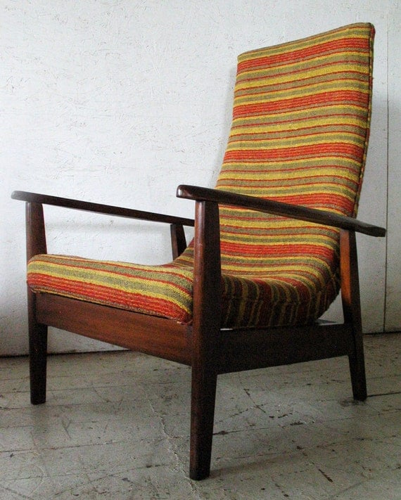 Danish modern scoop lounge chair 1960s original 60s striped for Furniture 60s style