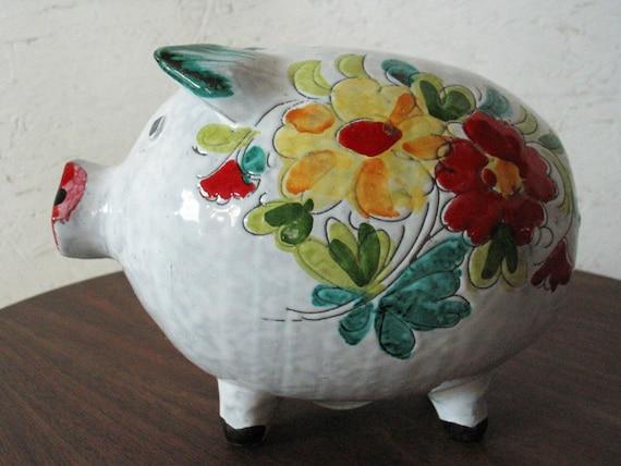 Vintage Piggy Bank Italian Hand Painted Mid Century Modern