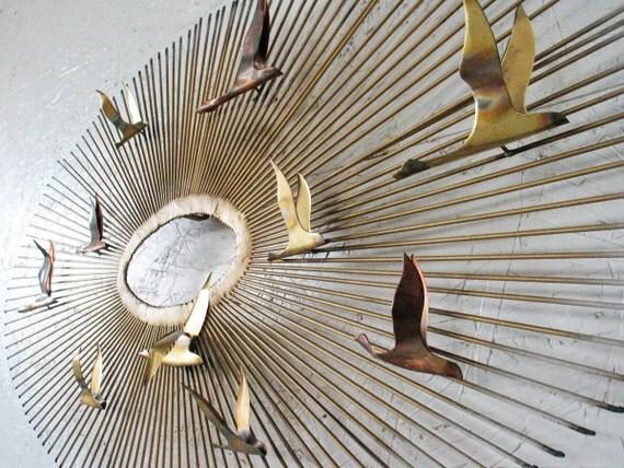SALE Curtis Jere Brass Starburst Wall Sculpture Flying Birds 1970s , Eames Era Metal Wall Sculpture
