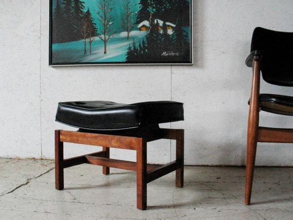 RESERVED   Jens Risom Danish Modern Walnut Bench Ottoman Stool - Mid Century Danish Modern furniture