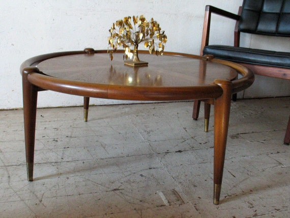 Danish Modern Round Sculptural Walnut Coffee Table - gibbings eames era , Grand Rapids Furniture Compay