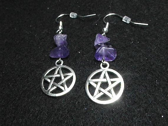 Pagan pentagram and Amethyst gemstone earrings mystical, spiritual, wicca