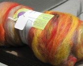 Carded wool  blend fiber batt ready to spin 3 oz