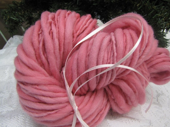 Bulky, thick and thin pink single, hand dyed, hand spun FREE SHIPPING wool