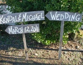 Personalized Rustic Cowboy Western Bridal Wood Wedding Signs on Stakes Custom Order Handpainted With Your Name
