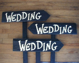 Set of 3 Rustic Wood Wedding Directional Stake Signs Western Bridal With Arrow