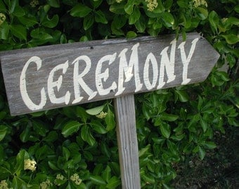 Rustic Wood Wedding Sign on Stake Western Bridal Ceremony Reception