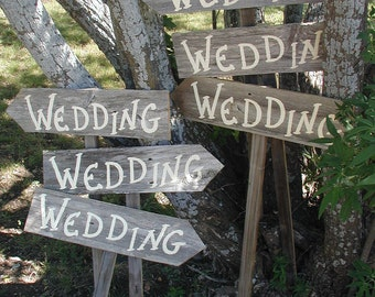 Set of 6 Rustic Wood Wedding Directional Stake Signs Western Bridal With Arrow