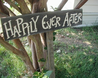 Rustic Wood Wedding Sign on Stake Happily Ever After