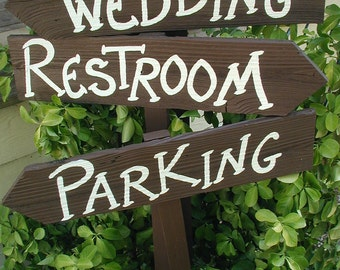 Set of 3 Rustic Wood Wedding Directional Stake Signs Reception Ceremony Western Bridal With Arrow