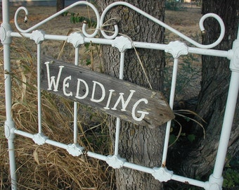 Wood Wedding Directional Hanging Sign Rustic Bridal Arrow Ceremony Reception Cocktails