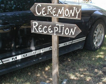 Pole Post Wood Wedding Sign Free Standing Bridal Personalized Names Three Boards Ceremony Reception Directional Arrow