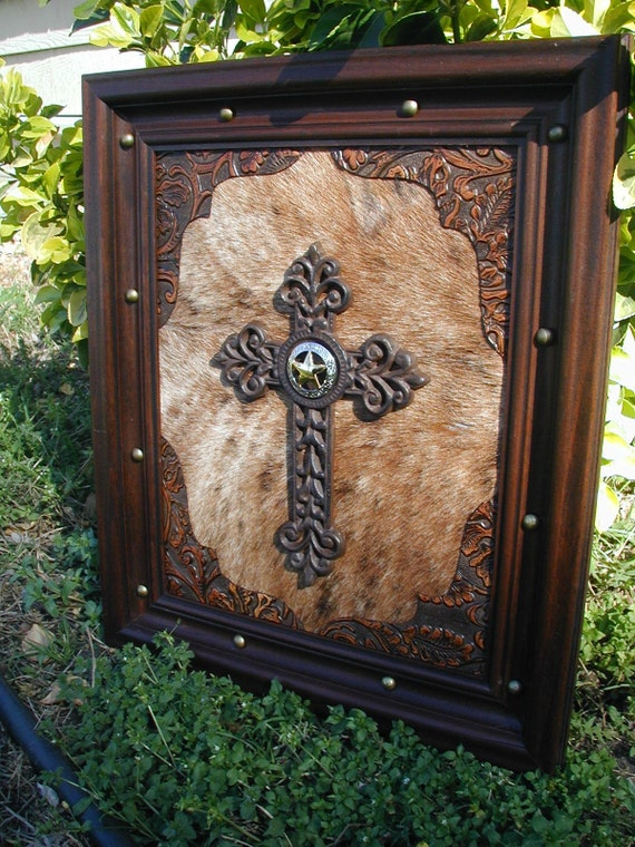 Cow Hide Tooled Western Leather Framed Cross By Craftmarttexas