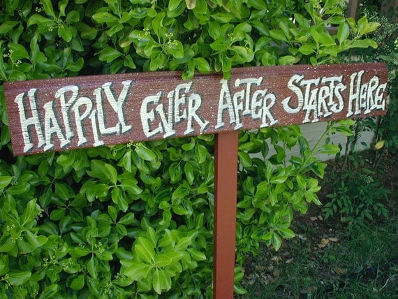 Happily Ever After Starts Here Sign on Stake Wood Wedding Bridal Rustic Western Barn Red