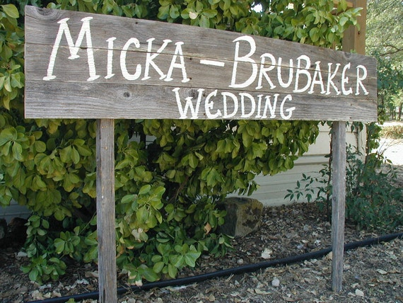 Extra Large Personalized Name Wedding Sign on Two Stakes Barn Wood Rustic Customized
