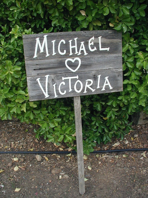 Personalized Name Wedding Sign on Stake Rustic Western Bridal  Barn Wood Planks with Heart