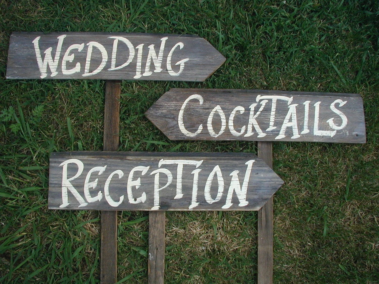 Set Of 3 Rustic Wood Wedding Directional Stake Signs Reception