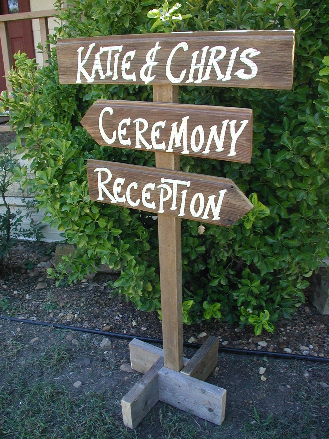 Pole Post Wood Wedding Sign Free Standing Bridal Personalized