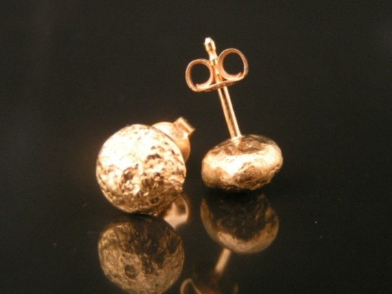 Gold nugget stud earrings, rustic earrings in 18k gold plated sterling silver