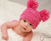Little Miss Checker Head---- Hand Knit Newborn Hat---0-3months--Choose from Pink, White,or Yellow