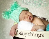 Newborn Baby Hat - Pom Pom - Mint Green - crochet- or ANY Color