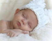 Newborn Baby Hat in White with Pom Poms Crochet- Photography Prop