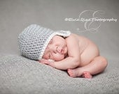 Baby Hat, Newborn Hat, Newborn Baby Earflap Hat, Photography Prop,Light Grey and White or Choose your own colors