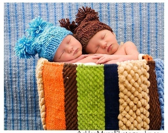 Baby Hat: Newborn Hat, Pom Pom Hat, Photography Prop, Brown or Blue