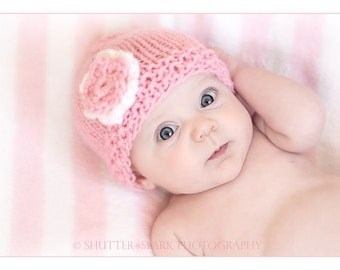 Knit Newborn Baby Hat-Miss Flower Power in Pink or Choose your Colors