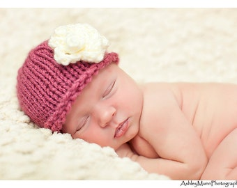 Baby Hat, Newborn Hat, Rose with Ecru Flower or Choose Any Colors, Baby Girl Hat, Photography Prop
