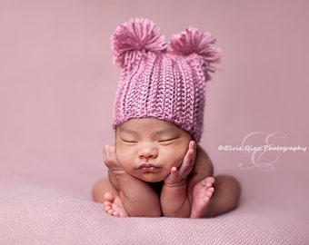 Baby Hat in Rose or any color- Baby Girl Hat with Pom Poms, Newborn Size