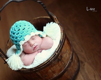 Newborn Baby Earflap Hat in Turquoise and Cream or Choose your own Colors 0 - 3 months - Photography Prop