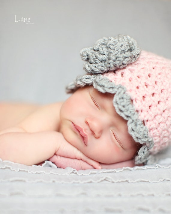Newborn Baby Hat with Scalloped Edging and  Rosette-Pastel Pink and Light Grey own or choose your own Colors - Photography Prop