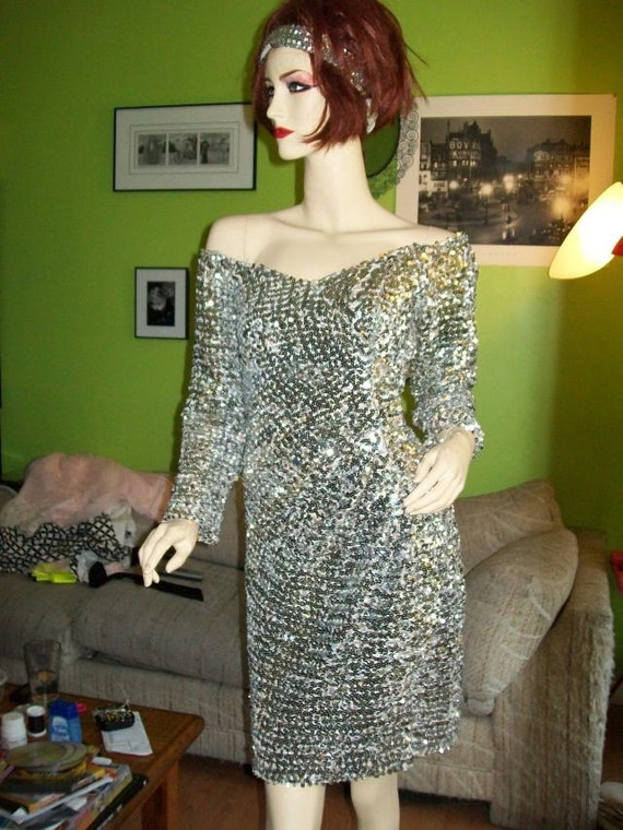 Asymetrical Silver Sequined 80's Cocktail / Prom Dress Size Medium - Large w/ Matching Headband