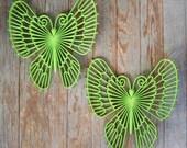 Groovy Green Apple Big Butterfly Set of 2