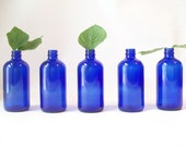 vintage cobalt blue glass bottle retro home decor apothecary medicine laundry toiletries bathroom display