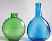 vintage pair of round glass bottles bright green & sky blue with a flower vases vessel container home decor set
