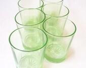 glassware vintage depression glass green starburst water glasses barware whiskey glass