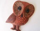 vintage ceramic owl wall hanging retro home decor mid century modern bird orange brown yellow big eyed boho bohemian