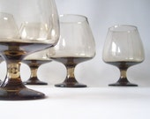 vintage glassware brandy glasses footed stemware retro modern mad men pan am entertaining urban home decor style trends driftwood brown