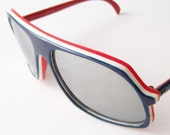 vintage sunglasses designer summer fashion sun glasses frames silver mirrored lenses stripes navy blue, red and white carrera style layered