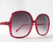 vintage sunglasses red sun glasses purple lenses summer over sized big eye frames chic glam retro bohemian boho
