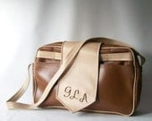 vintage brown messenger bag business professional tote briefcase laptop vinyl fashion neutral accessory neutral cream weekender carry on gla
