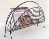 vintage magazine rack holder storage black metal wire office chic home decor mid century modern swank atomic style