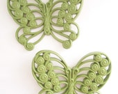 upcycled vintage wall hanging butterfly set home decor decorative retro green spring summer style trends nature butterflies pretty