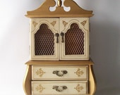 vintage jewelry cabinet music box french provencial regency retro home decor metallic gold cream storage
