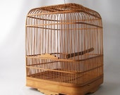 vintage bird cage hanging natural bamboo reed basket home decor decorative cottage chic large tall cage
