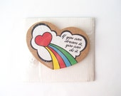 vintage heart shape corkboard memo board red rainbow cloud retro chic office inspirational wall hanging sign happy corkers dream it you can